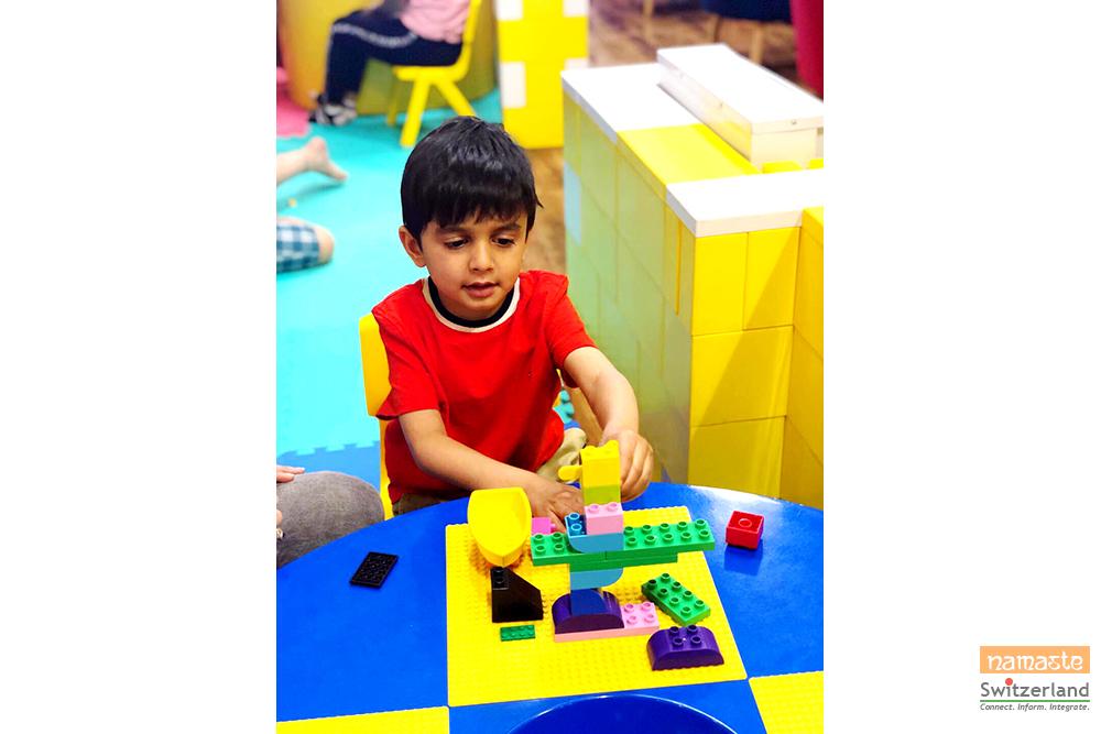 Photo of Lego play desk at Bricks Cafe