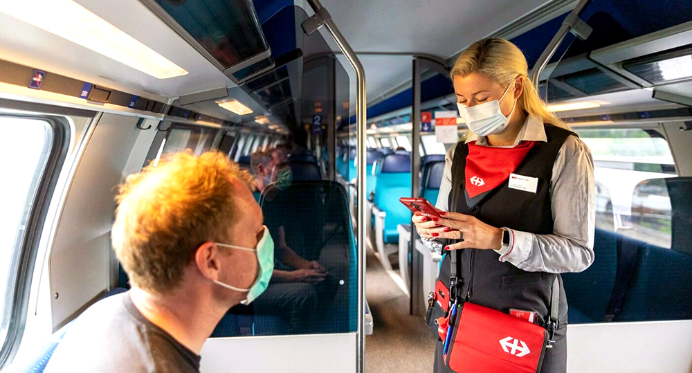 Photo of a train compartment in Switzerland