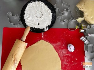 Photo of rolling out the cookie dough