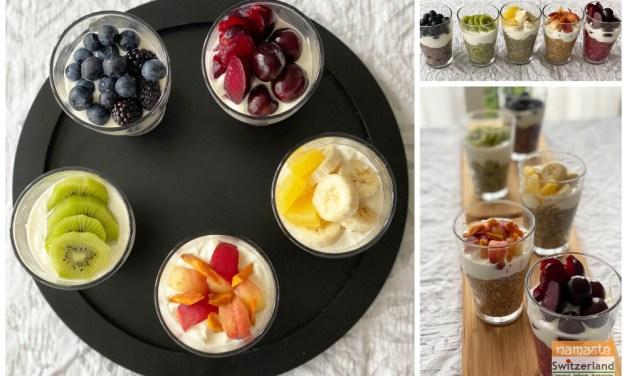 Rainbow Oat Chia Pudding Parfaits