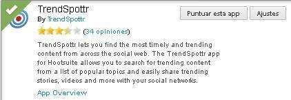 Trendspottr, una app para Hootsuite