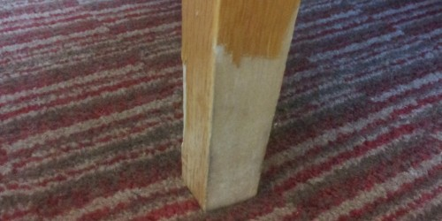 veneer damage to a table leg namco refurbs can repair any damage like this