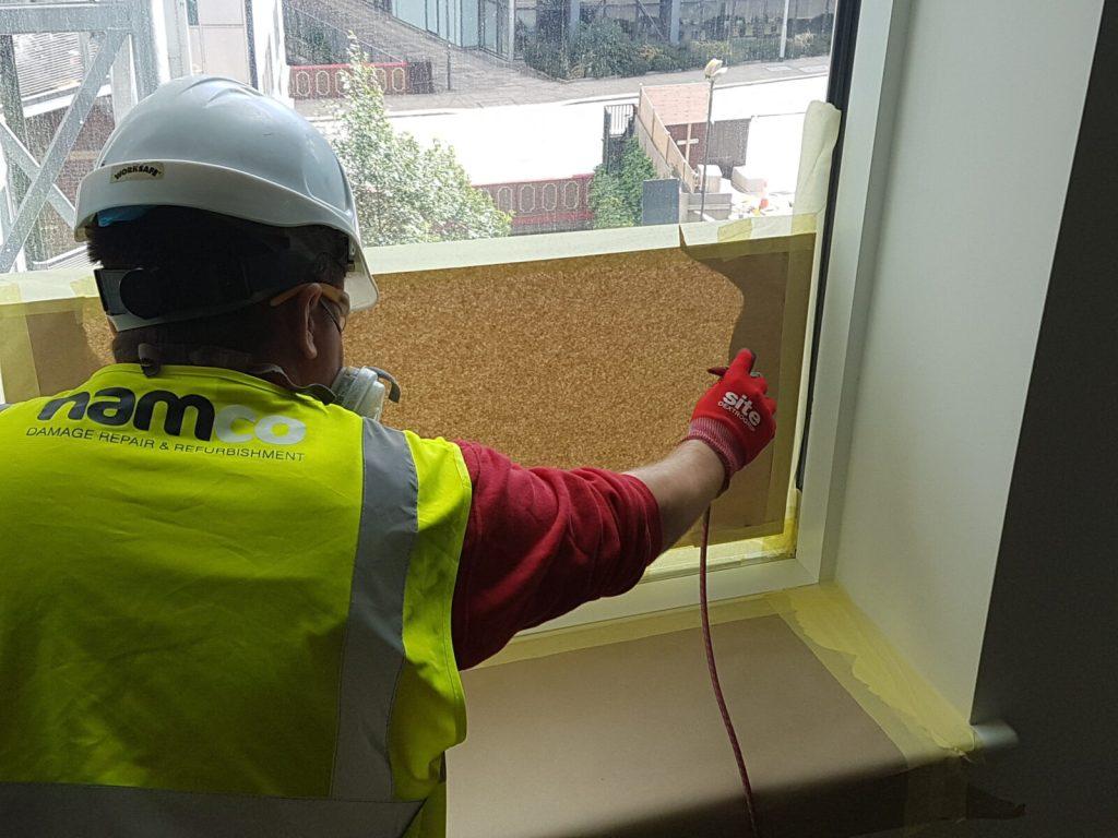 WINDOW FRAME SCRATCH CHIP DENT REPAIR SITE SPRAYING CONSTRUCTION SITE SPRAYING