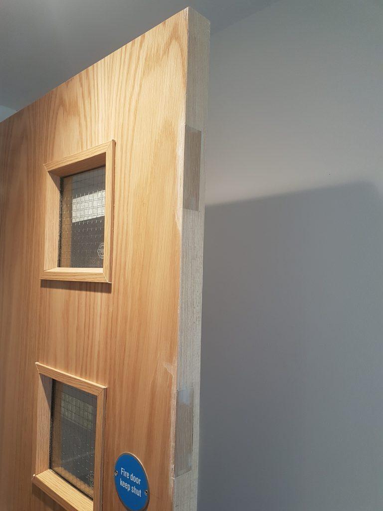LAMINATED FIRE DOOR DAMAGE REPAIR CHIP SCRATCH DENT SCUFF BURN REPAIR FRENCH POLISHING DOOR BEFORE