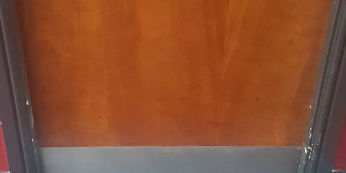 BADLY DAMAGED EXEC LOUNGE DOOR REFURB AND REPAIRS SCRATCH CHIP DENT GOUGE AFTER