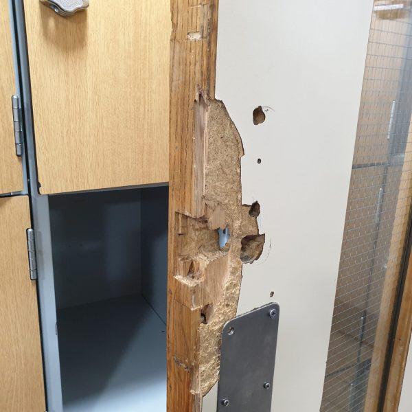 BADLY DAMAGED LAMINATE DOOR REPAIR BEFORE