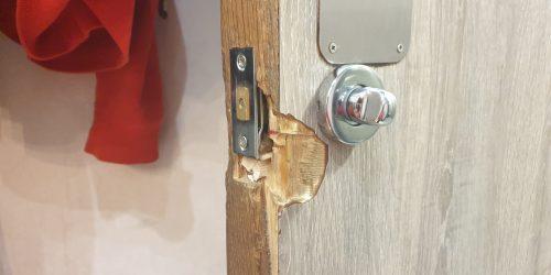 RESTURANT LAMINATE DOOR CHIP SCRATCH DENT REPAIR NAMCO REFURBS BEFORE