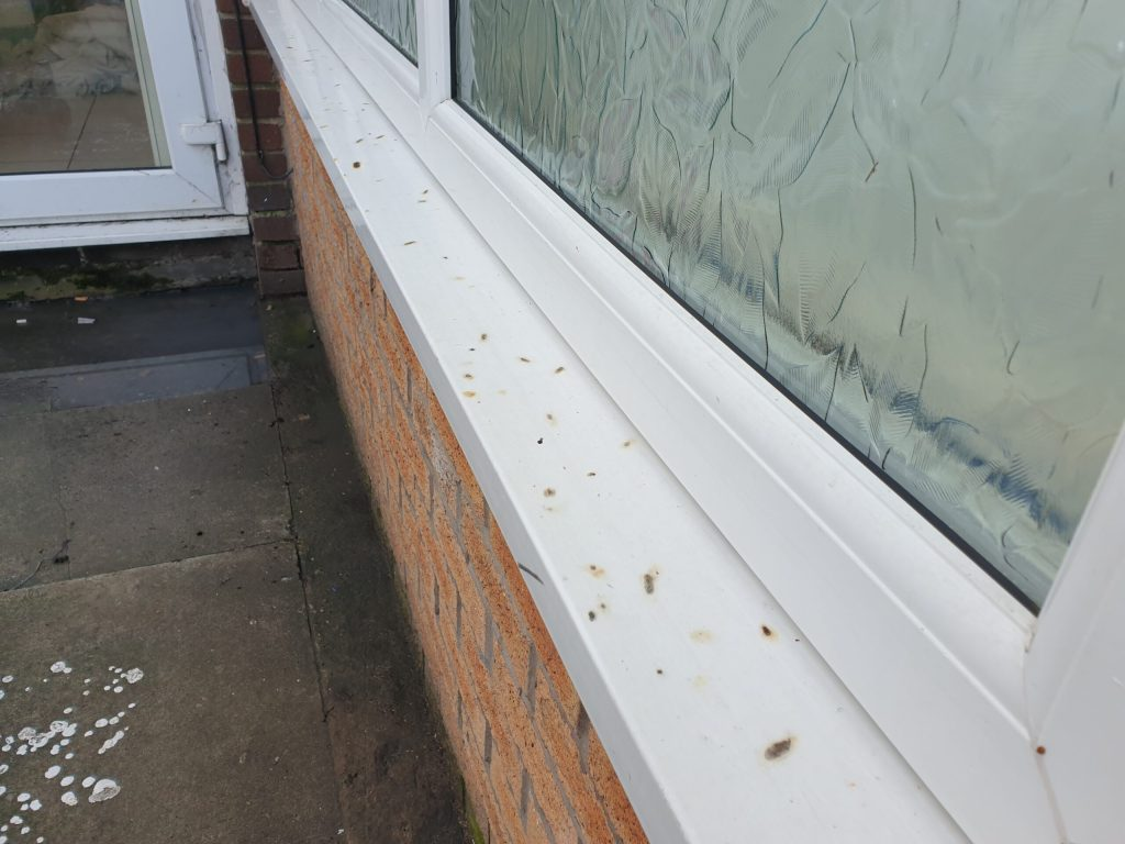 CIGARETTE BURN MARK CHIP CRACK UPVC PLASTIC WINDOW SILL CILL REPAIR BEFORE