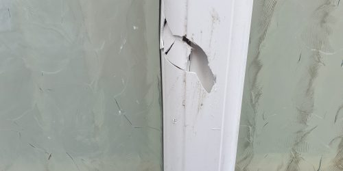 UPVC PLASTIC CONSERVATORY WINDOW DOOR FRAME CRACK CHIP SCRATCHREPAIR MANCHESTER BEFORE