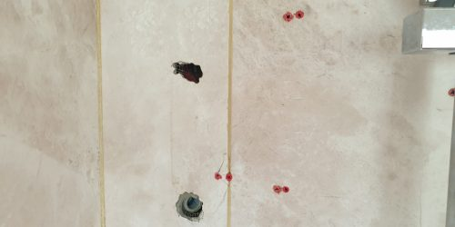 MARBLE EFFECT BATHROOM WALL FLOOR SHOWER TILE SCREWHOLE REPAIR BEFORE