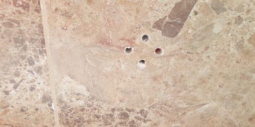 MARBLE EFFECT BATHROOM WALL FLOOR TILE SCREWHOLE REPAIR BEFORE 1