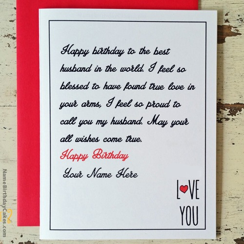 Write Name On Birthday Cards For Husband Birthday Wishes