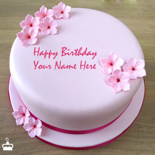 Pink Birthday Cake With Name