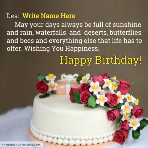 Romantic Cake Birthday Wishes For Lover With Name