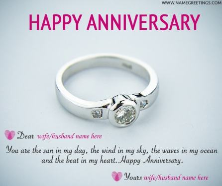 Write your and your husband/wife name on happy anniversary greeting card