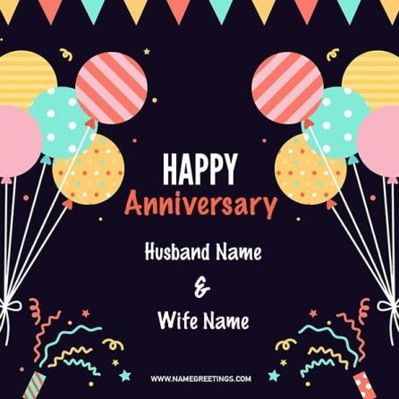 create happy anniversary card with names