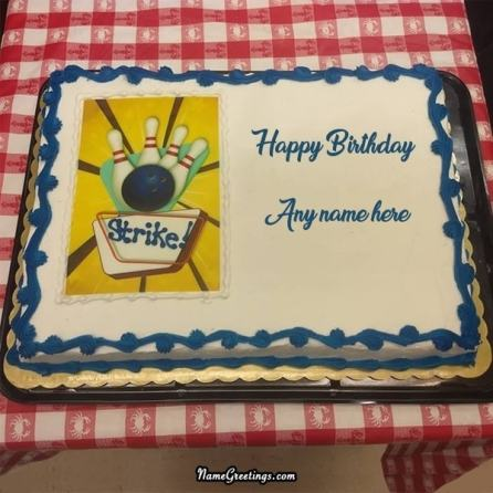 bowling birthday cake with name