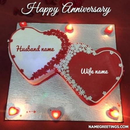 Write Name On Happy Anniversary Cakes And Cards