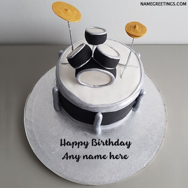 Tremendous Happy Birthday Drums Cake With Name Personalised Birthday Cards Veneteletsinfo