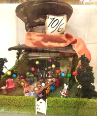 """NAME Member, Pat Perry displayed her """"Mad Hatter Tea Party"""" scene in 1/4"""" scale."""