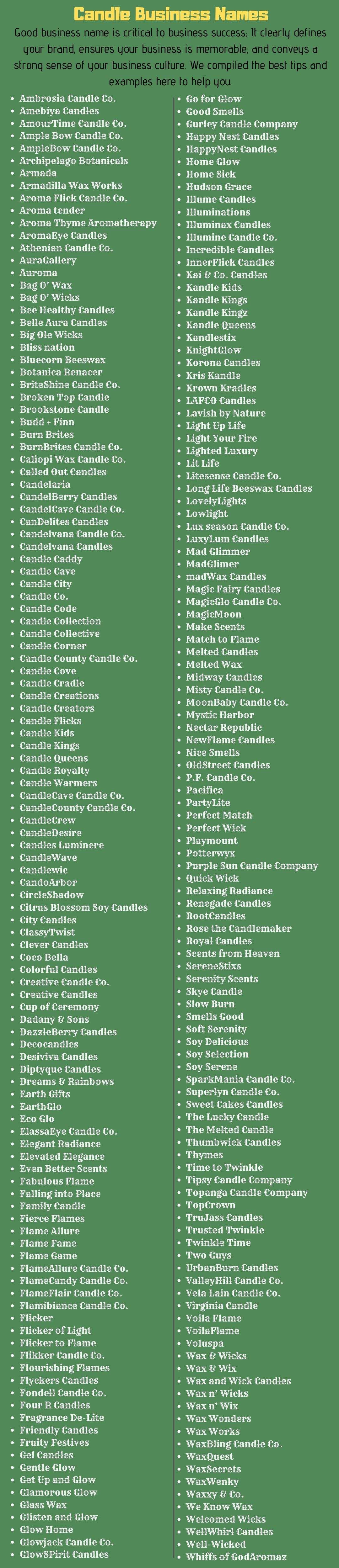 candle business names