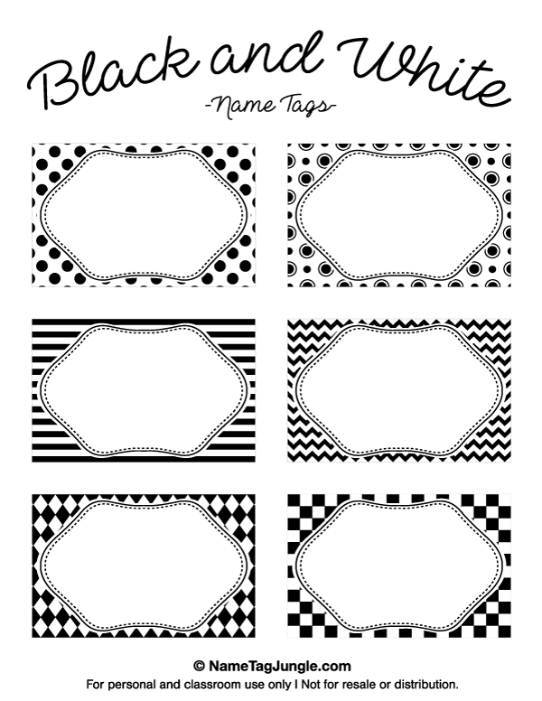 Printable Black and White Name Tags