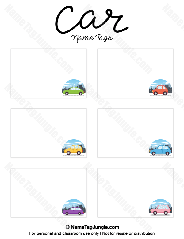 Printable Car Name Tags