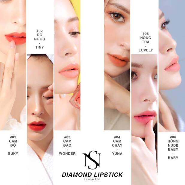 Bảng màu son kem diamond lipstick