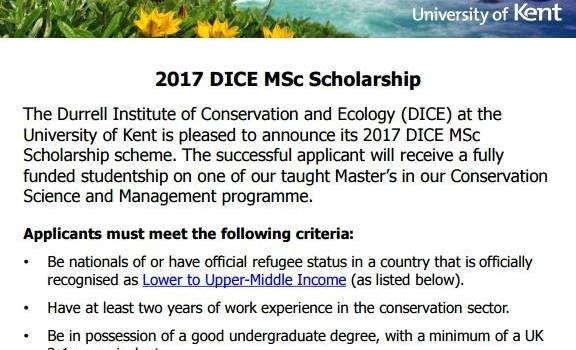 2018 Durrell Institute of Conservation and Ecology MSc Scholarship scheme at the University of Kent (Fully Funded)