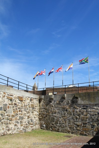 The row of flags on Leerdam Bastion flutter in the breeze - it becomes a scorching day