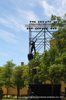 You need a good head for heights if you want to work on these lighting towers