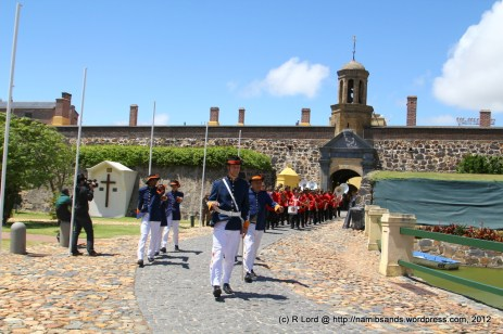 The Castle Guard in their traditional uniforms are led out by Captain Francois Morkel
