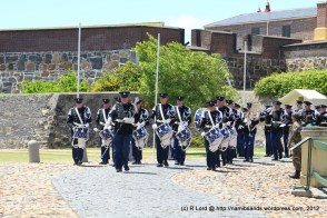 The Het Historisch Tamboerkorps van der Koninklijke Marechaussee from the Netherlands march out of the Castle