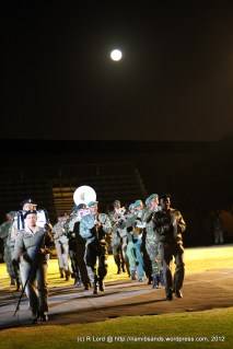 Botswana Army Band - with the full moon rising behind them