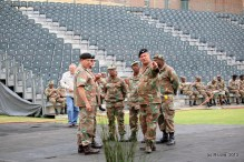 Lt Col Johan Conradie and Sgt Major Hellmuth have a word with the troops