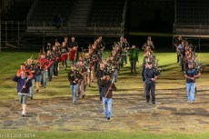 The massed pipe bands run through their routine
