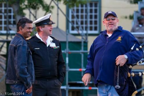Lt Col Gerald Seekola, Cdr Kenny Leibbrandt and Pipe Major Andrew Imrie