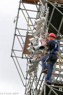 Lighting crew installing the lights