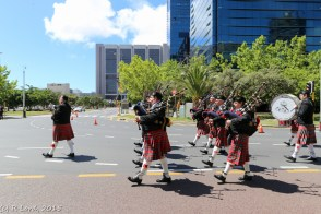 Cape Field Artillery Pipes and Drums lead the parade