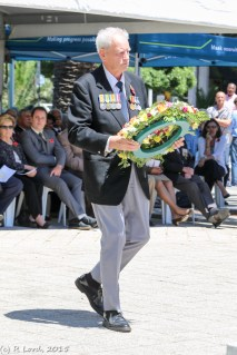 Doug Grierson, previously in the BSAP (British South Africa Police), laying a wreath for the Combined Services of Rhodesia and everyone killed in the Rhodesian Bush War (1964-1979)