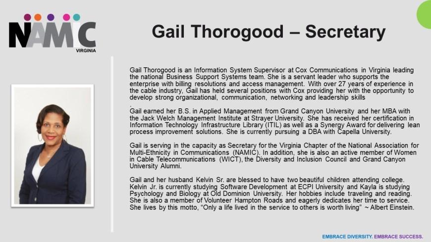 2020-04-03 Gail Thorogood Bio