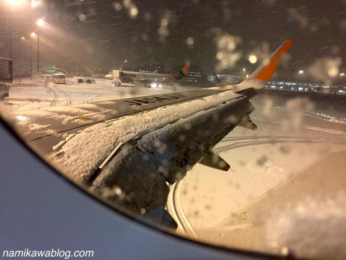 新千歳空港の駐機場での大雪