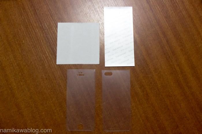 パワーサポート・衝撃吸収アンチグレアフィルムセット for iPhone5s/5 PJK-08の内容物
