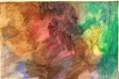 Abstract watercolor painting showing a blend of blue, orange, red, yellow, and green.
