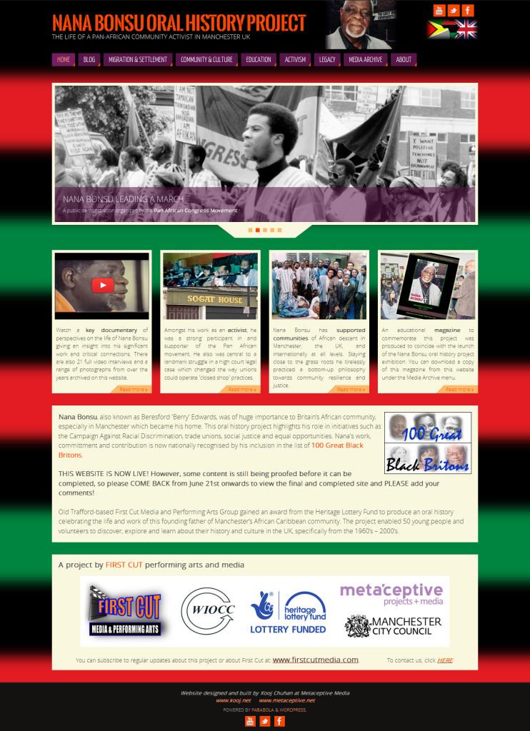 Nana Bonsu Website Home Page