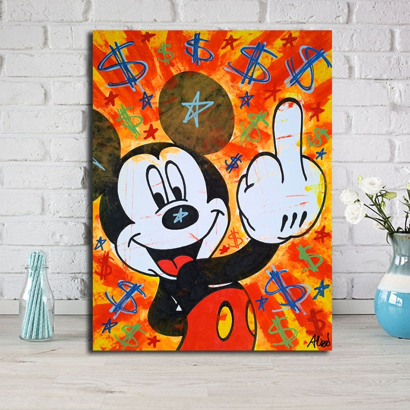 Monopolyingly Street Art Mickey Mouse Graffiti Dollar Oil Canvas Painting Wall Art Picture For Bedroom Hd Print Home Decor