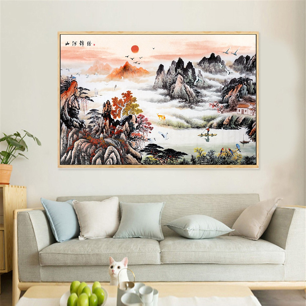 Abstract Painting Scenery Wall Art Chinese Painting Canvas ...