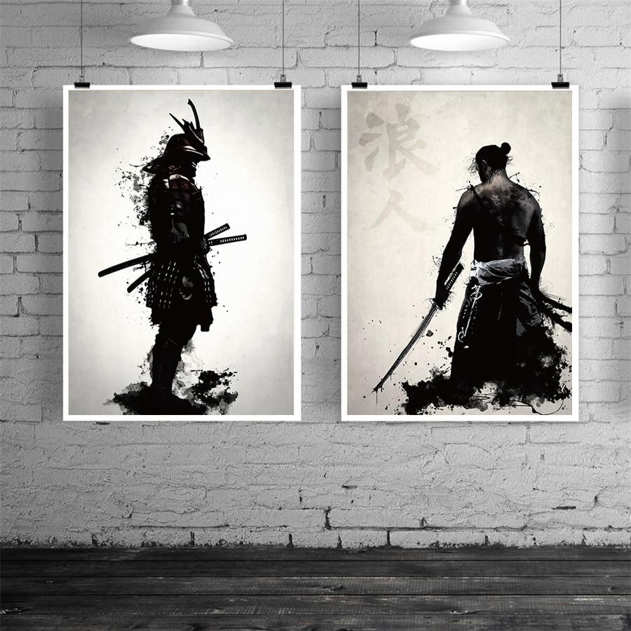 Japanese Water Colour Painting Black /& White Mountains Canvas Art Picture Print
