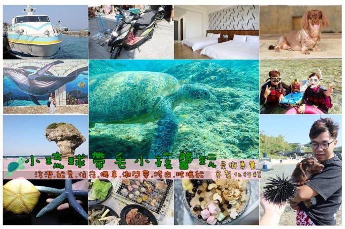 小琉球兩天一夜帶毛小孩醬玩!交通,看海龜浮潛,潮間帶,夜間導覽套裝行程包辦(小琉球崇獅旅遊)