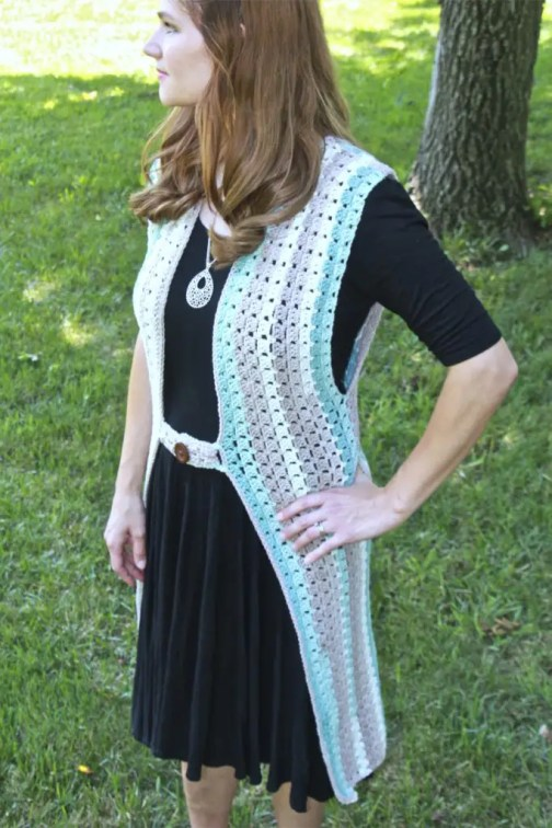 Retro Duster Vest Crochet pattern using Caron Cotton Cakes